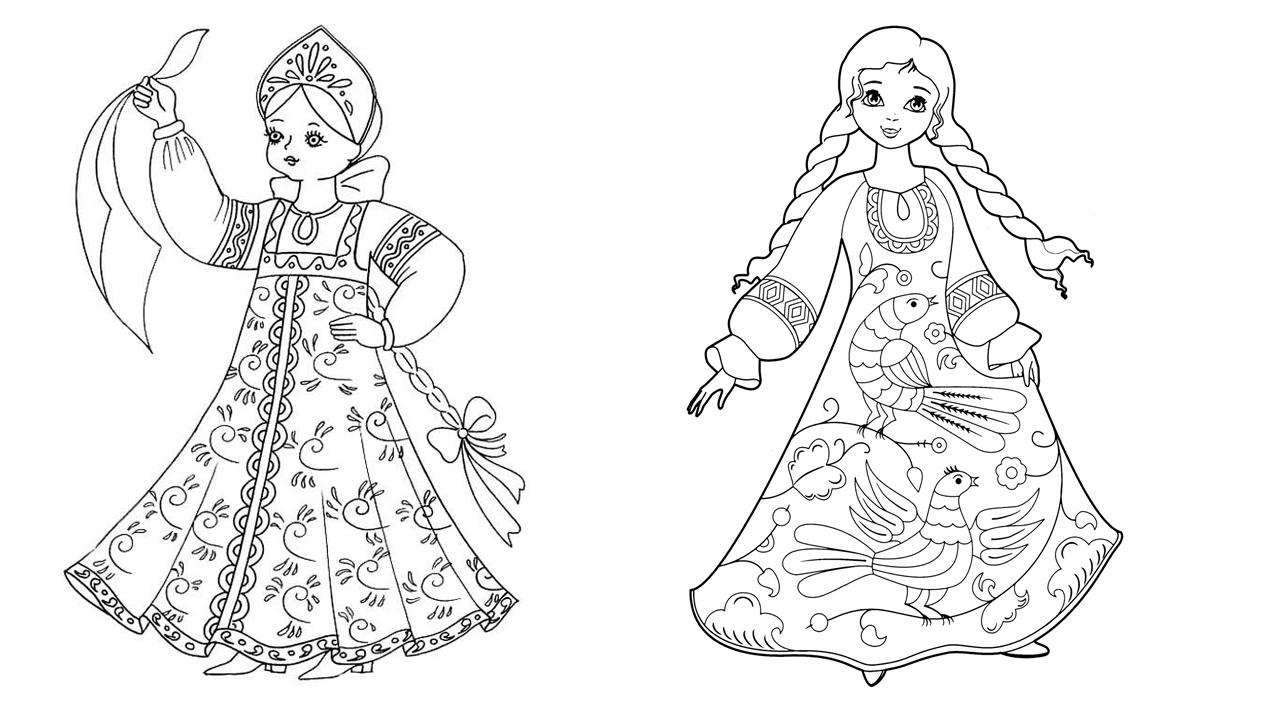 Раскраска девочки в сарафане